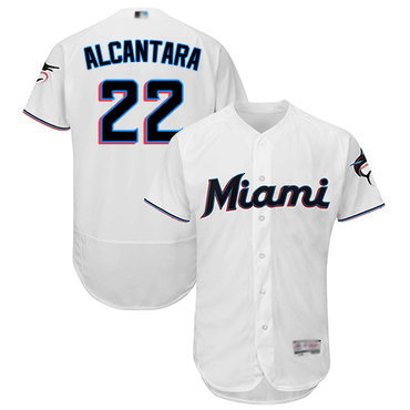 marlins #22 Sandy Alcantara White Flexbase Authentic Collection Stitched Baseball Jersey