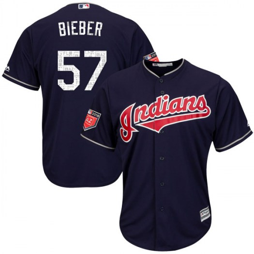 Men's Majestic #57 Shane Bieber Cleveland Indians Replica Navy Cool Base 2018 Spring Training Jersey