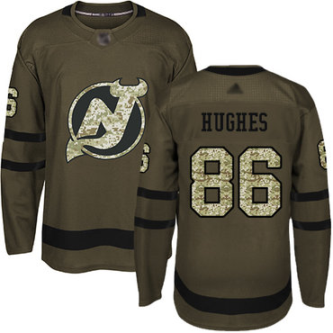Devils #86 Jack Hughes Green Salute to Service Stitched Hockey Jersey
