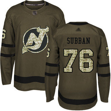 Devils #76 P. K. Subban Green Salute to Service Stitched Hockey Jersey