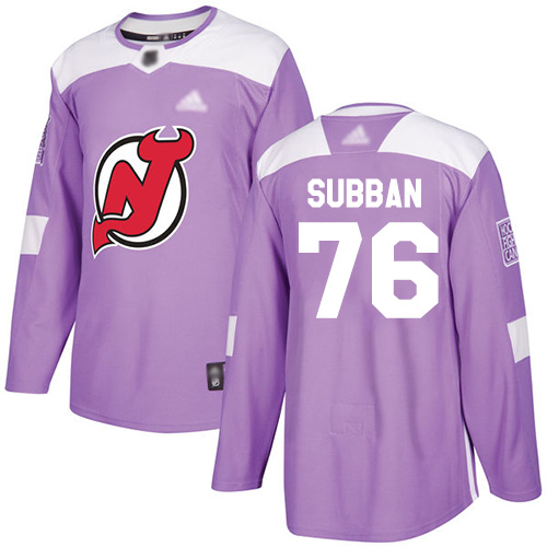 Devils #76 P. K. Subban Purple Authentic Fights Cancer Stitched Hockey Jersey
