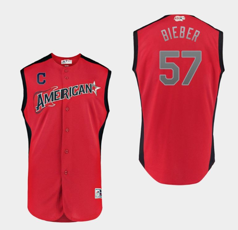 MLB American League #57  Shane Bieber Red 2019 All-Star Game Men Jersey