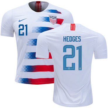 USA #21 Hedges Home Soccer Country Jersey
