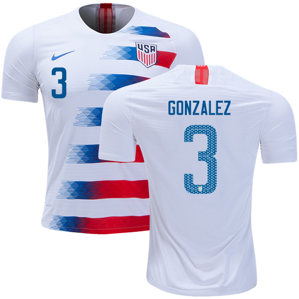 USA #3 Gonzalez Home Soccer Country Jersey