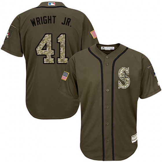Men's Authentic Seattle Mariners #41 Mike Wright Jr. Majestic Salute to Service Green Jersey