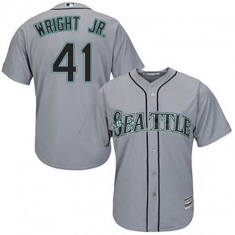 Men's Authentic Seattle Mariners #41 Mike Wright Jr. Majestic Cool Base Road Gray Jersey