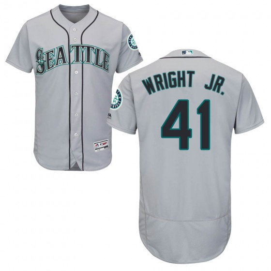 Men's Authentic Seattle Mariners #41 Mike Wright Jr. Majestic Flex Base Road Collection Gray Jersey