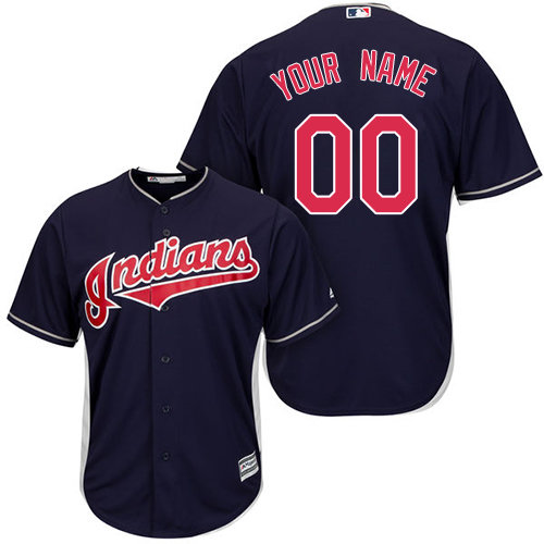 Replica Navy Blue Baseball Alternate Youth Jersey Customized Cleveland Indians Cool Base