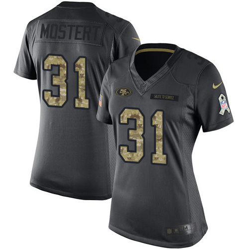 Nike 49ers #31 Raheem Mostert Black Women's Stitched NFL Limited 2016 Salute to Service Jersey