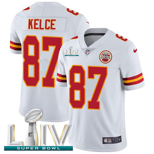 Nike Chiefs #87 Travis Kelce White Super Bowl LIV 2020 Youth Stitched NFL Vapor Untouchable Limited Jersey