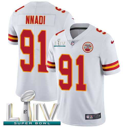 Nike Chiefs #91 Derrick Nnadi White Super Bowl LIV 2020 Youth Stitched NFL Vapor Untouchable Limited Jersey