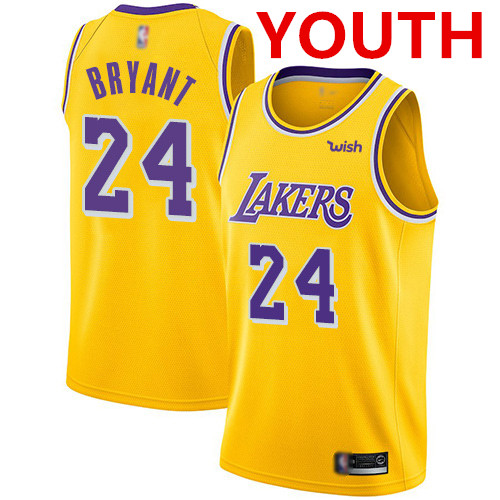 Youth Los Angeles Lakers #24 Kobe Bryant Gold Basketball Swingman Icon Edition Jersey