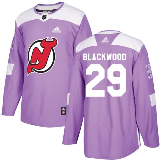 New Jersey Devils Authentic #29 Mackenzie Blackwood Fights Cancer Practice Adidas Jersey - Purple
