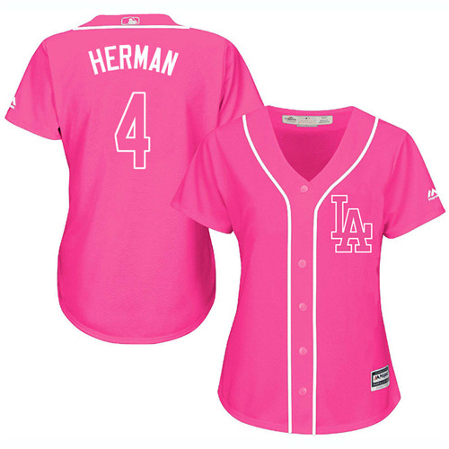 Women's Los Angeles Dodgers #4 Babe Herman Authentic Pink Fashion Cool Base Baseball Jersey