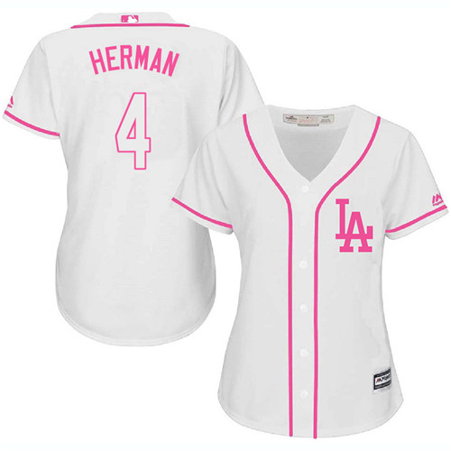 Women's Los Angeles Dodgers #4 Babe Herman Authentic White Fashion Cool Base Baseball Jersey
