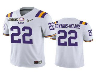 Men's LSU Tigers #22 Clyde Edwards-Helaire White 2020 National Championship Game Jersey