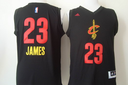 Cleveland Cavaliers  23 LeBron James 2015 Black With Red Fashion Jersey 47b979cae