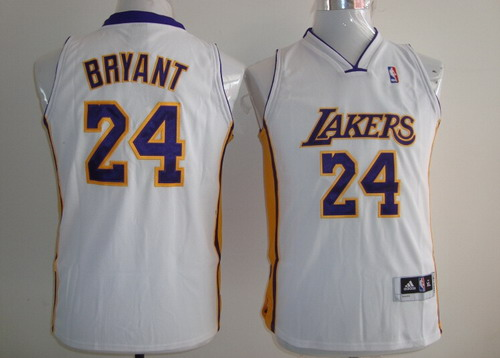 c0c9181a912a Los Angeles Lakers  24 Kobe Bryant White Kids Jersey on sale