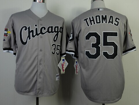 Chicago White Sox #35 Frank Thomas Gray 75TH Patch Jersey