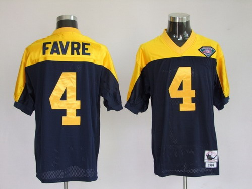 Green Bay Packers #4 Brett Favre Navy Blue With Yellow 75TH Throwback Jersey