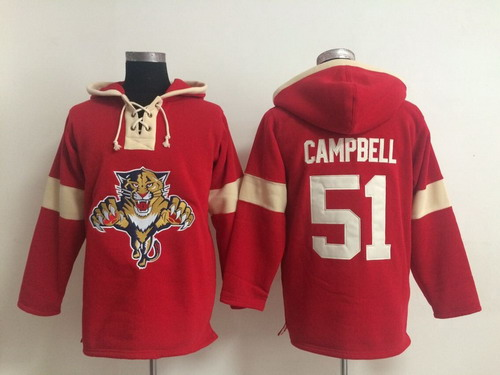 2014 Old Time Hockey Florida Panthers #51 Brian Campbell Red Hoodie