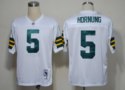 Green Bay Packers #5 Paul Hornung White Short-Sleeved Throwback  Jersey