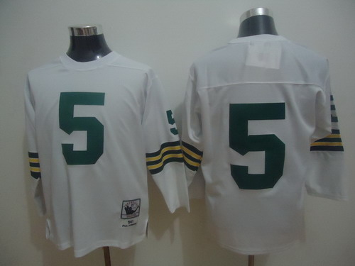 Green Bay Packers #5 Paul Hornung White Long-Sleeved Throwback Jersey