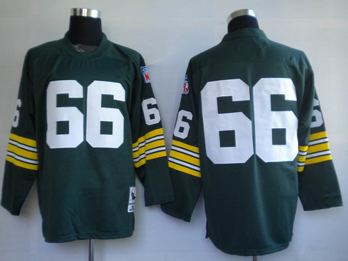 Green Bay Packers #66 Ray Nitschke Green Long-Sleeved Throwback Jersey