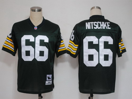 Green Bay Packers #66 Ray Nitschke Green Short-Sleeved Throwback Jersey