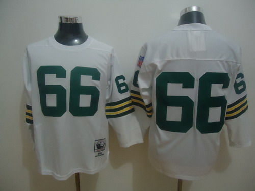 Green Bay Packers #66 Ray Nitschke White Long-Sleeved Throwback Jersey