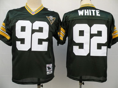 Green Bay Packers #92 Reggie White Green 75TH Throwback Jersey