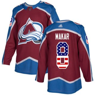 Adidas Colorado Avalanche #8 Cale Makar Burgundy Home Authentic USA Flag Stitched NHL Jersey