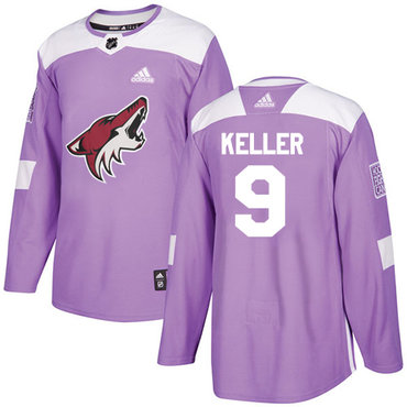 Adidas Coyotes #9 Clayton Keller Purple Authentic Fights Cancer Stitched NHL Jersey