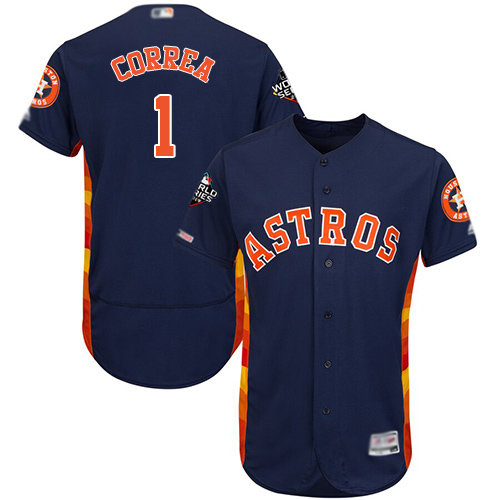 Astros #1 Carlos Correa Navy Blue Flexbase Authentic Collection 2019 World Series Bound Stitched Baseball Jersey