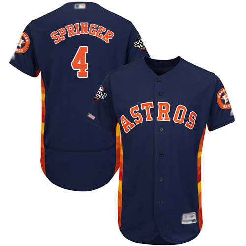 Astros #4 George Springer Navy Blue Flexbase Authentic Collection 2019 World Series Bound Stitched Baseball Jersey