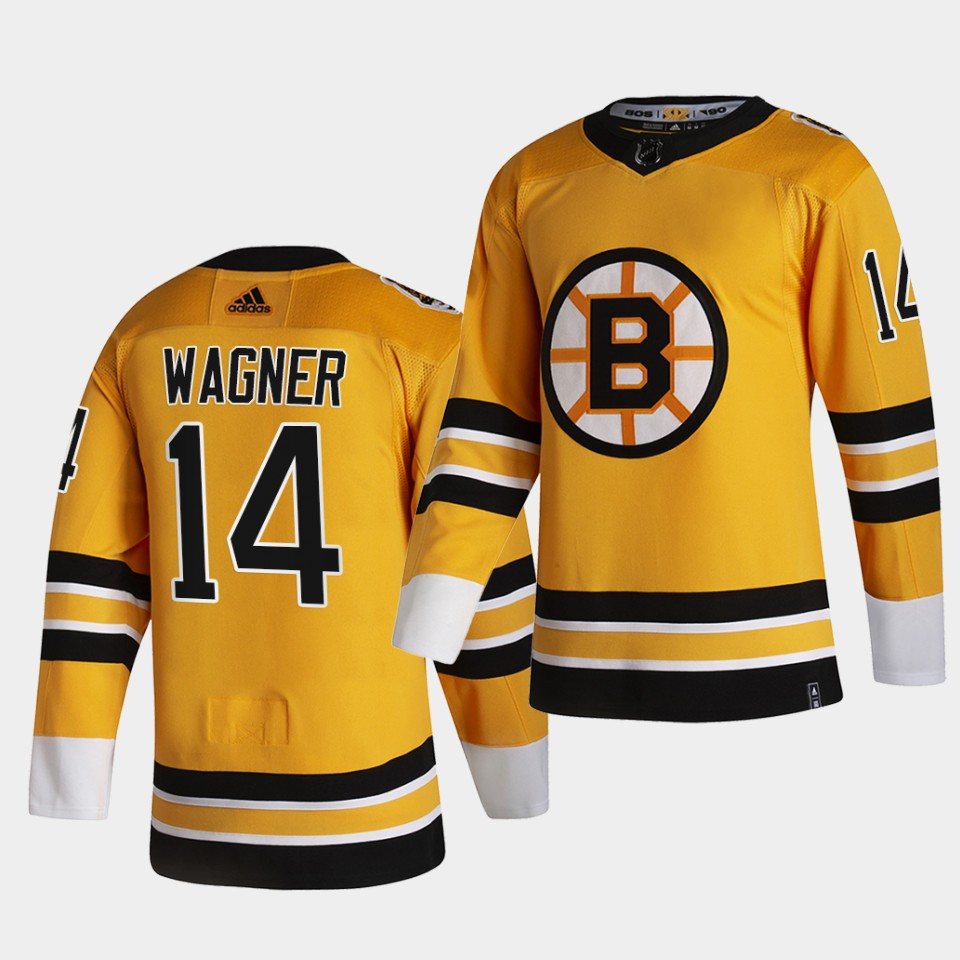 Boston Bruins #14 Chris Wagner 2021 Reverse Retro Gold Authentic Jersey Gold