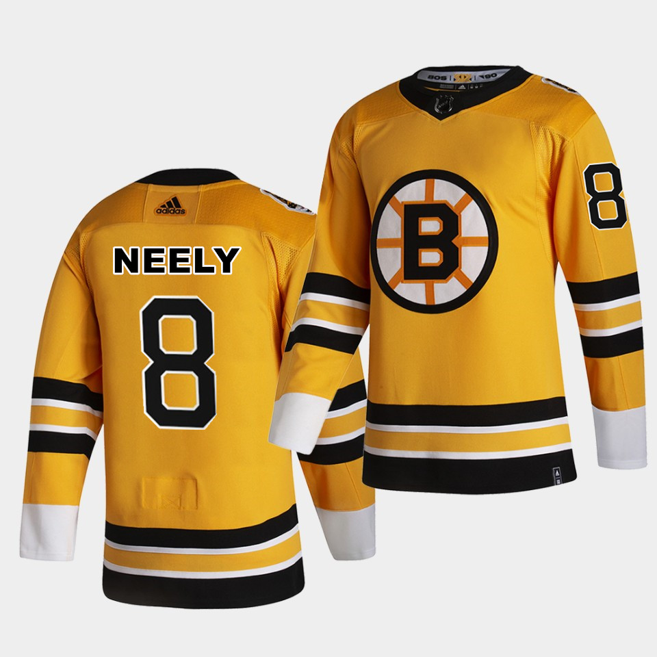Boston Bruins #8 Cam Neely 2021 Reverse Retro Yellow Special Edition Authentic Jersey