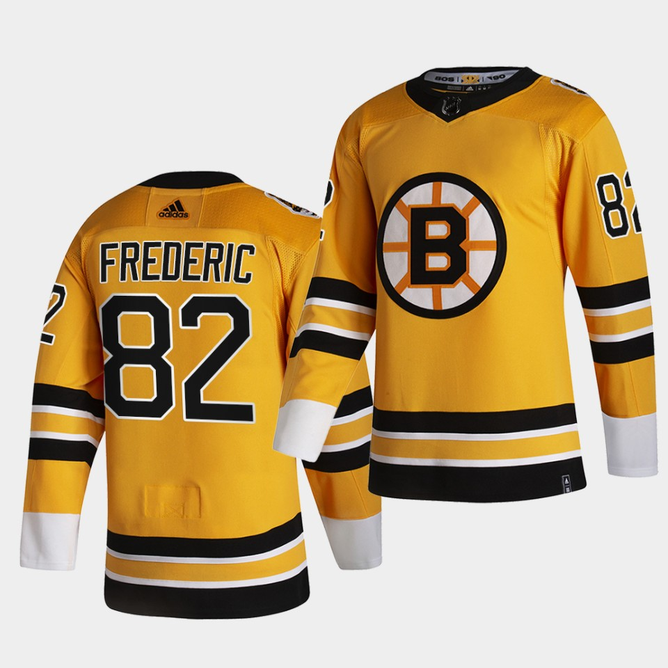 Boston Bruins #82 Trent Frederic 2021 Reverse Retro Gold Authentic Jersey Gold