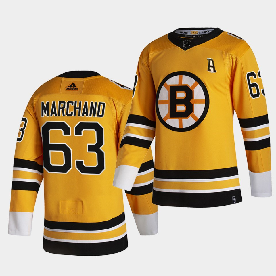 Boston Bruins Brad Marchand with A patch Men 2021 Reverse Retro Gold Authentic Jersey Gold