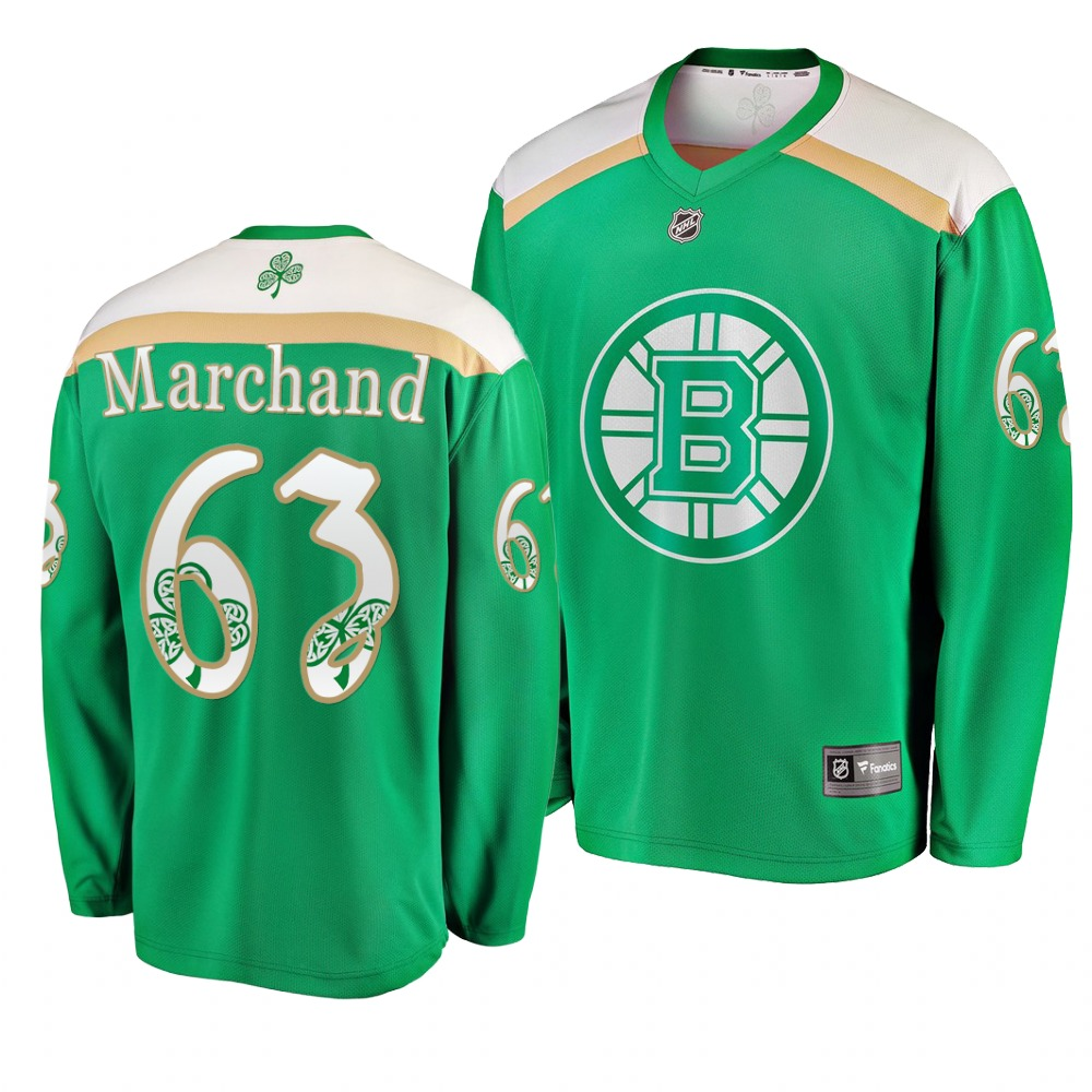 Bruins 63 Brad Marchand Green 2019 St. Patrick's Day Adidas Jersey