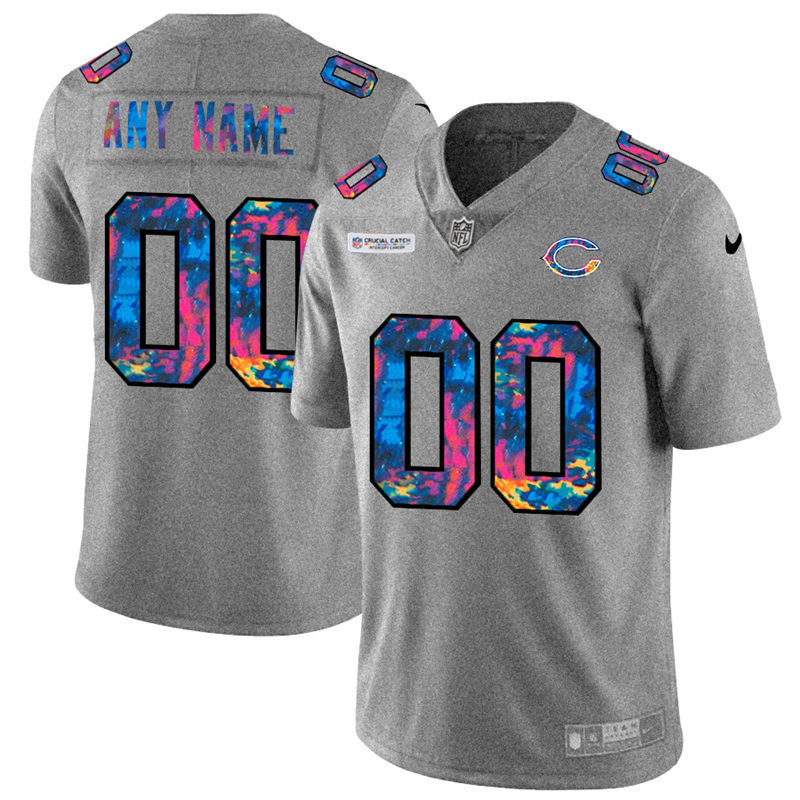 Chicago Bears Custom Men's Nike Multi-Color 2020 NFL Crucial Catch Vapor Untouchable Limited Jersey Greyheather