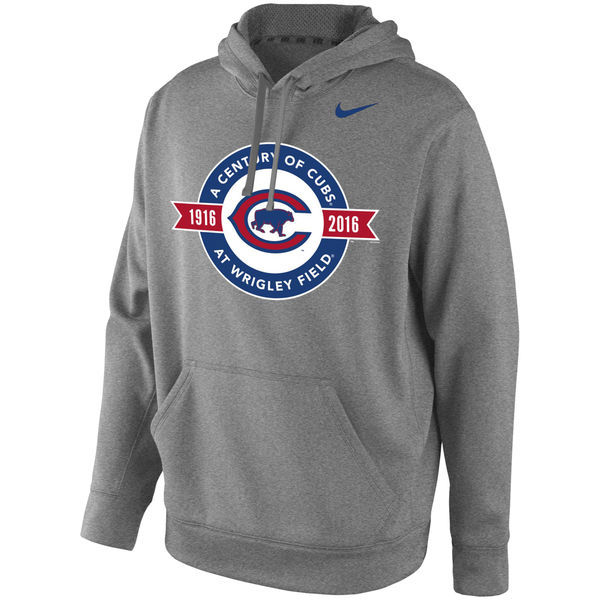 Chicago-Cubs-Grey-A-Century-of-Cubs-at-Wrigley-Patch-Men's-Pullover-Hoodie