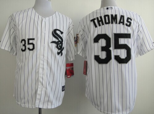 Chicago White Sox #35 Frank Thomas White With Black Pinstripe 75TH Patch Jersey