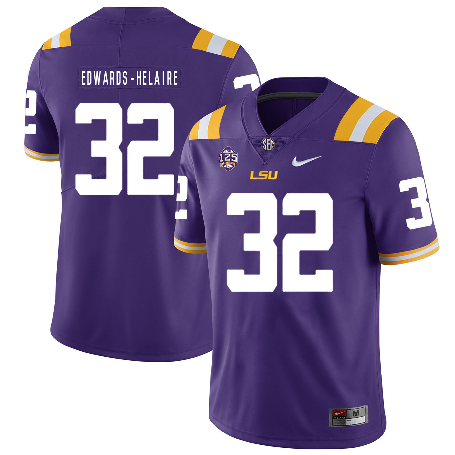 LSU Tigers 32 Clyde Edwards Helaire Purple Nike College Football Jersey