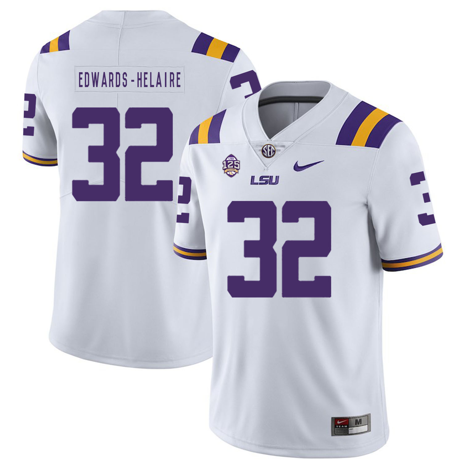LSU Tigers 32 Clyde Edwards Helaire White Nike College Football Jersey
