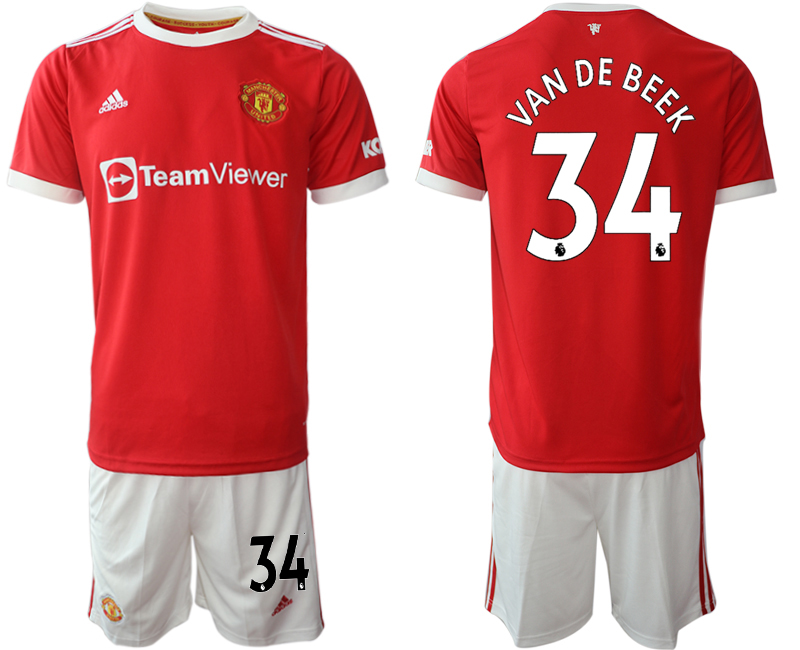 Men 2021-2022 Club Manchester United home red 34 Adidas Soccer Jersey