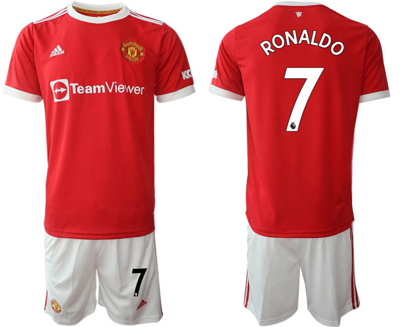 Men 2021-2022 Club Manchester United home red 7 Adidas Soccer Jersey1