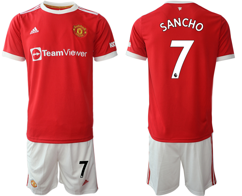Men 2021-2022 Club Manchester United home red 7 Adidas Soccer Jersey2
