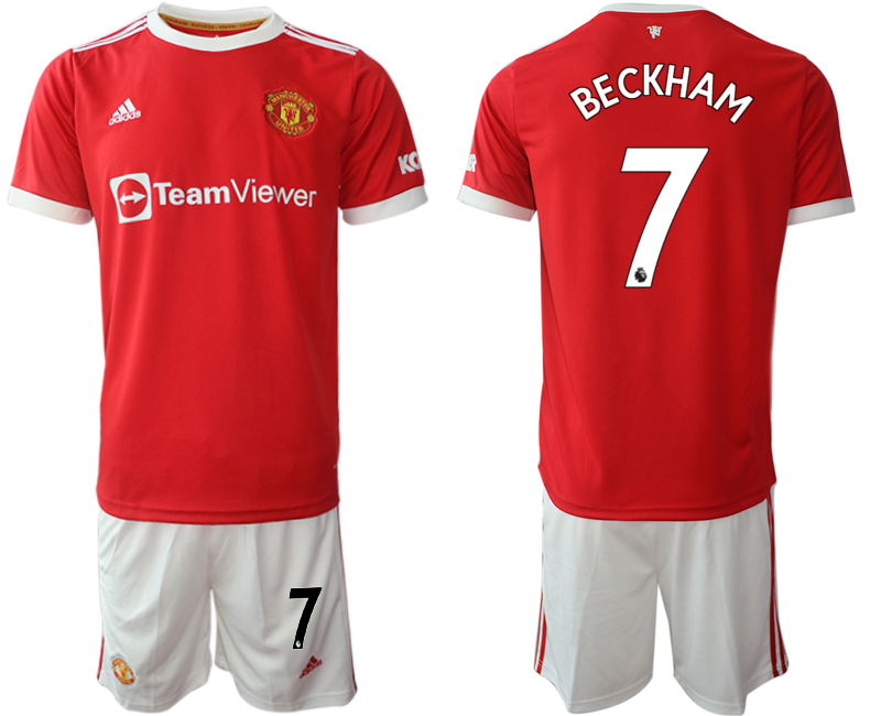 Men 2021-2022 Club Manchester United home red 7 Adidas Soccer Jerseys