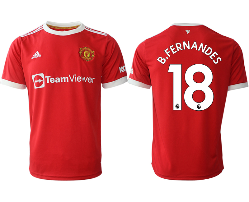 Men 2021-2022 Club Manchester United home red aaa version 18 Adidas Soccer Jersey
